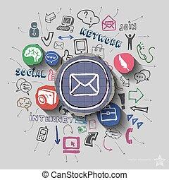 kuvert, och, collage, med, nät ikon, bakgrund