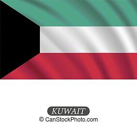 kuwait, abbildung, winkende , hintergrund., fahne, vektor, weißes
