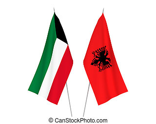 Kuwait and Albania flags - National fabric flags of Kuwait ...