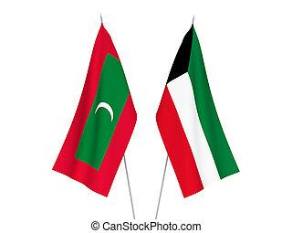 Kuwait and Maldives flags - National fabric flags of Kuwait ...