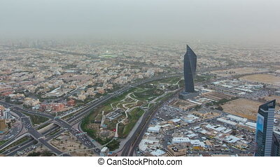 Kuwait City cityscape day to night timelapse is the capital of Kuwait. Sunset time.