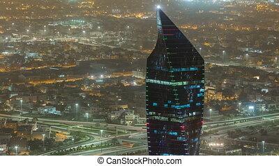 Kuwait City cityscape night timelapse is the capital of Kuwait.