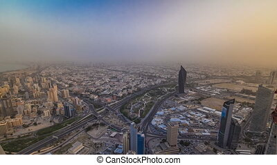 Kuwait City cityscape timelapse is the capital of Kuwait. Sunset time.