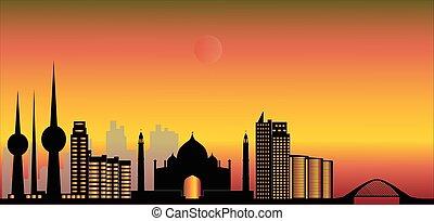 kuwait city skyline - kuwait modern city skyline with mosk ...
