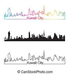 Kuwait City skyline linear style with rainbow in editable ...