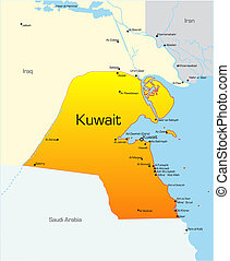 Kuwait country - Abstract vector color map of Kuwait country