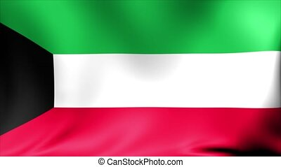 Kuwait Flag. Background Seamless Looping Animation.