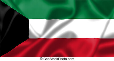 Kuwait flag blowing in the wind. Background texture.