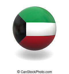 Kuwait flag - National flag of Kuwait on sphere isolated on...