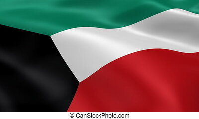 Kuwait flag in the wind - Kuwaiti flag in the wind. Part of...