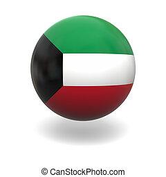 Kuwait flag - National flag of Kuwait on sphere isolated on ...