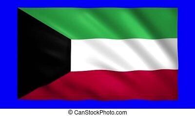 Kuwait flag on blue screen for chroma key