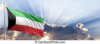 Kuwait flag on blue sky. 3d illustration