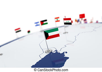 Kuwait flag. Country flag with chrome flagpole on the world...