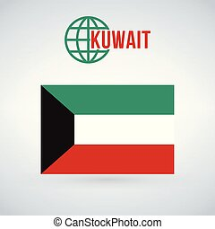 Kuwait flag, vector illustration isolated on modern background with shadow.