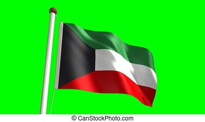 Kuwait flag video (seamless & green screen)