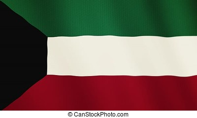 Kuwait flag waving animation. Full Screen. Symbol of the country.