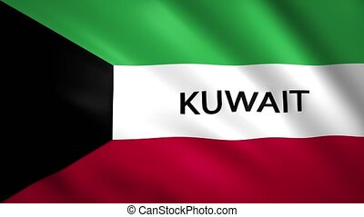 Kuwait flag with the name of the country