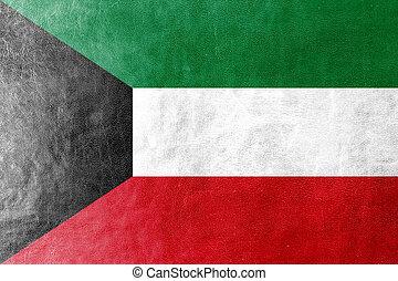 kuwait flagg, målad, på, läder, struktur