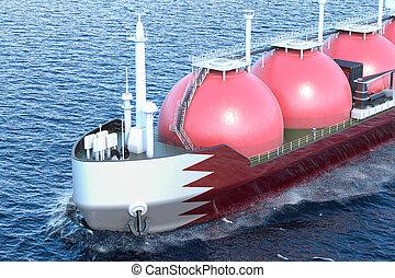 Kuwait gas tanker sailing in ocean, 3D rendering