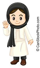 Kuwait girl in black and white costume