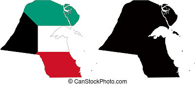 kuwait - vector map and flag of Kuwait with white...