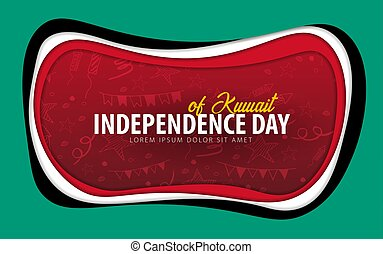 Kuwait. Independence day greeting card. Paper cut style.