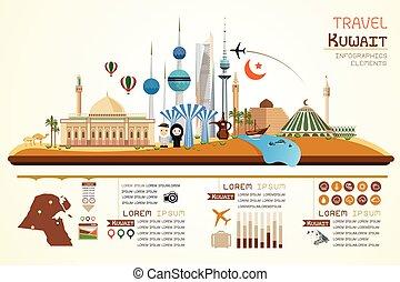 Info graphics travel and landmark kuwait template design. Concept Vector Illustration