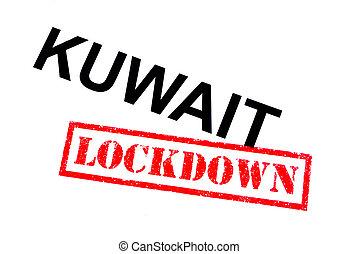Kuwait Lockdown - KUWAIT with a red LOCKDOWN rubber stamp.