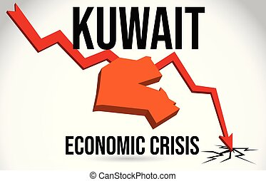 Kuwait Map Financial Crisis Economic Collapse Market Crash Global Meltdown Vector.