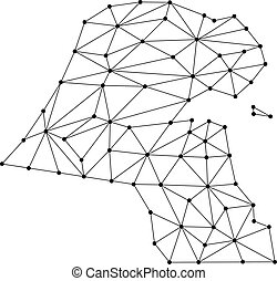 Kuwait map of polygonal mosaic lines network, rays and dots vector illustration.