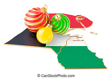 Kuwait map with colored Christmas balls. New Year and Christmas holidays concept, 3D rendering