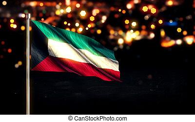 Kuwait National Flag City Light Night Bokeh Background 3D
