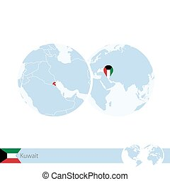 Kuwait on world globe with flag and regional map of Kuwait....
