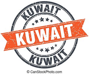 Kuwait red round grunge vintage ribbon stamp