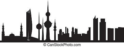 kuwait skyline in black grey and white