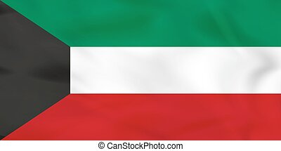 Kuwait waving flag. Kuwait national flag background texture....