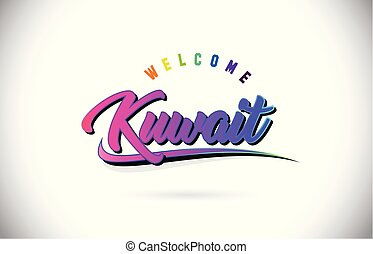 Kuwait Welcome To Word Text with Creative Purple Pink Handwritten Font and Swoosh Shape Design Vector.
