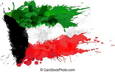 kuwejt bandera, robiony, plamy, barwny
