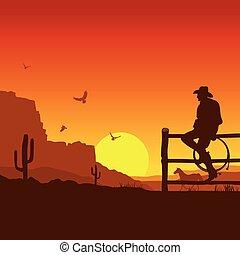 kväll, cowboy, väst, amerikan, solnedgång, vild, landskap