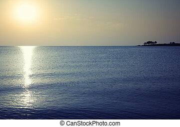 kväll, hav