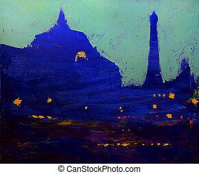 kväll, konst museum, eiffel, orsay, torn, målning, original