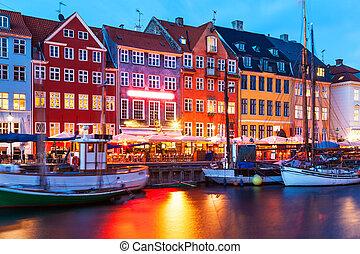 kväll, landskap, av, nyhavn, in, köpenhamn, danmark