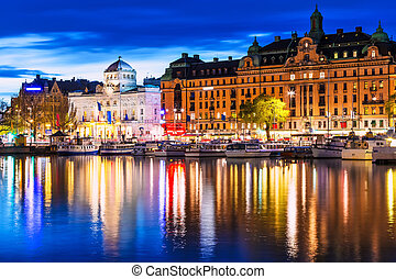 kväll, landskap, av, stockholm, sverige