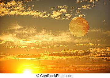 kväll, solnedgång, sky.