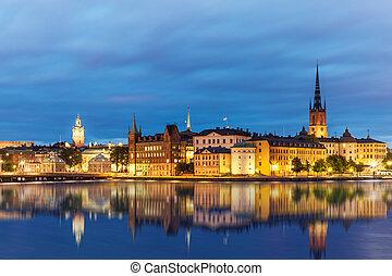 kväll, sommar, landskap, av, stockholm, sverige