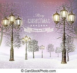kväll, vinter, årgång, lampposts., vector., jul, landskap