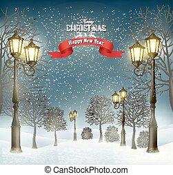 kväll, vinter, lampposts., vektor, jul, landskap