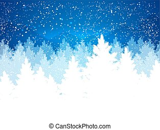 kväll, vinter landskap