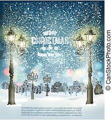 kväll, vinter, vektor, design, lamppost., parti, jul, landskap, mall